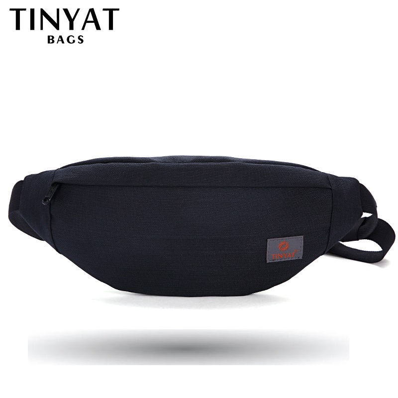 TINYAT New Men Casual Waist Pack Väska Märke Canvas Shoulder Fanny Packs Kvinnor Bälte Bag Pouch För Pengar Telefon Black Bum Hip Bag