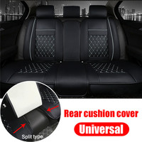 Black + White Universal Car Auto Rear Seat Cushion Cover PU Leather Rear Seats Bench Cushion Mat Split Type For 5 Seats