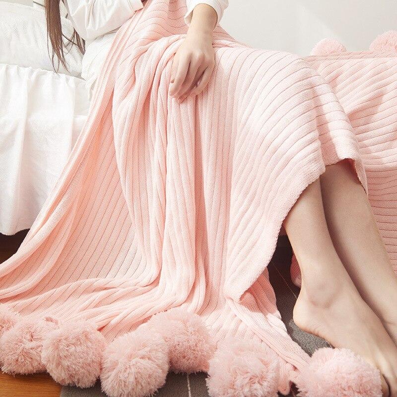 200x150 cm qualité coton Pom Crochet fil couverture pour bébés adultes double taille lit tricoté jette lit canapé décor à la maison