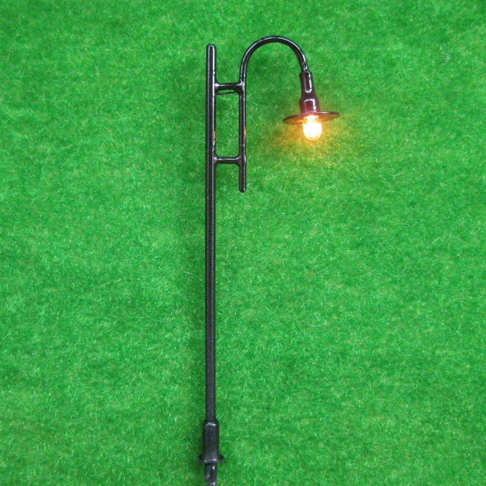 10pcs Black/Gold/Green OO HO Scale Lamppost Lights Model Lamp Lights 7.5cm Street Layout Scenery