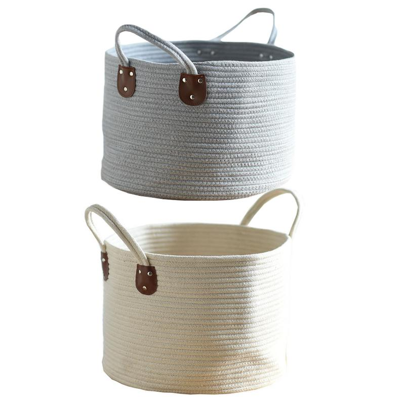 rivets semi circular cotton rope storage basket portable
