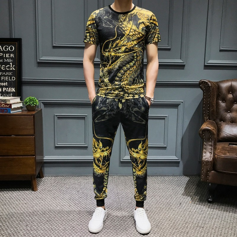 Summer Dragon Printed Men Set Causal T Shirt Men 2Pcs Tracksuit Sportswear Pants Jogger Suit Slim Fit 2-piece Set Harem Pants