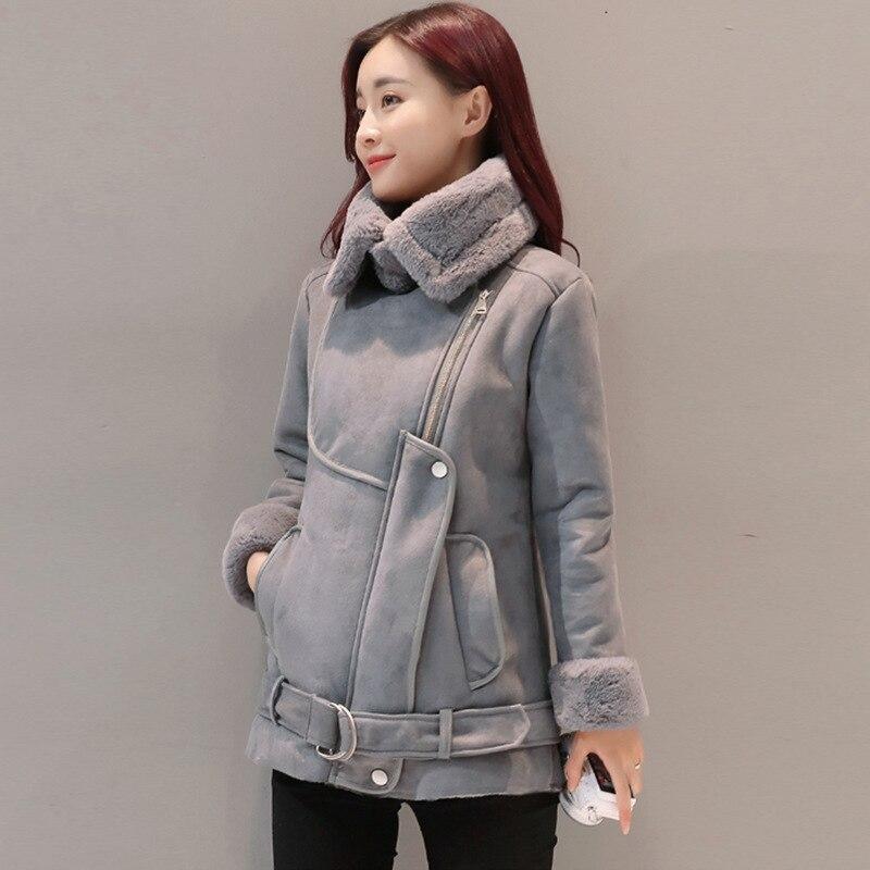 Утолщенная куртка, зимнее тонкое пальто для женщин из овечьей шерсти, замшевая верхняя одежда, Женская тонкая куртка на молнии с меховым воротником, новинка 2019, теплое Женское пальто