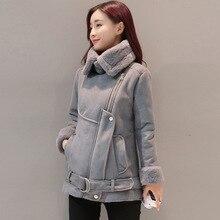 Thicken Jacket Winter Slim Coat Female Lambswool Suede Outwear Women Zipper Slim Fur Collar Jackets 2019 New Warm Women Coat