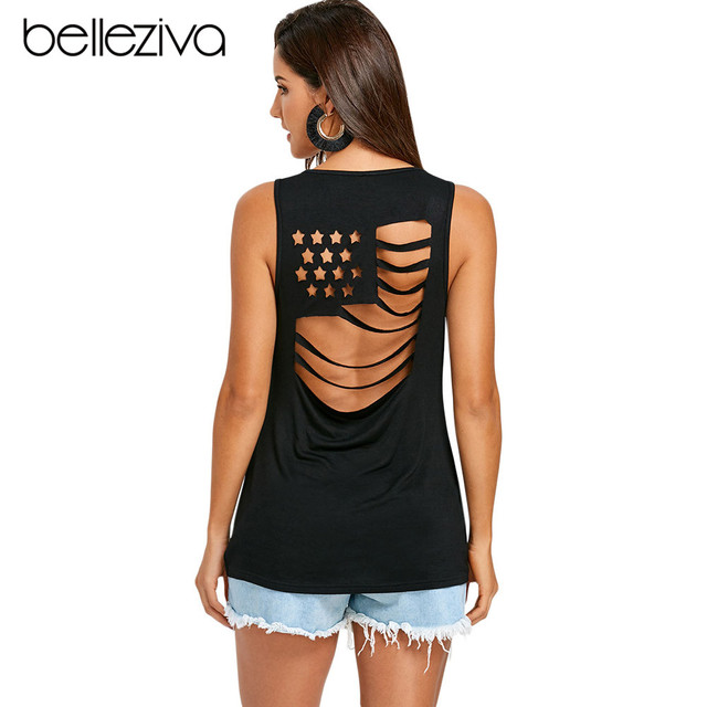 American Flag Back Sleeveless T-Shirt