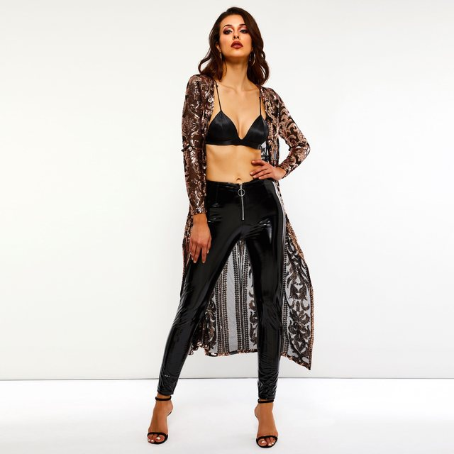 Long Coat Women Sequins Print Mesh Sexy See Through Slim Spring Autumn Street Hipster Ladies Travel Sunscreen Casual Overcoat