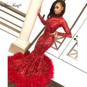 Image 5 - Luxury Feather Red Sequin Evening Dress Long Sleeve Islamic Dubai Kaftan African Prom Dresses Vestido De Festa Muslim Party Gown