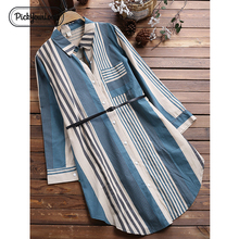 Pickyourlook Women Shirt Dresses Plus Size Striped Long Sleeve Autumn Large Size Female Dress Pocket Turn-Down Collar Lady Dress giyu summer women shirt dress casual striped printing dresses turn down collar vestido long sleeve basic robe femme
