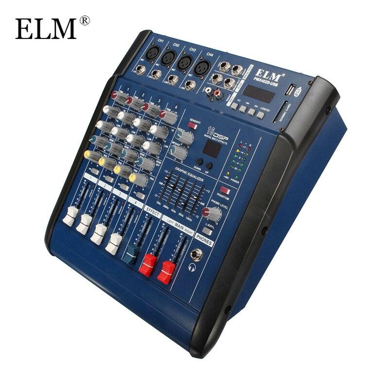 ELM Professional караоке аудио микшер с мощность усилители домашние 4 канала цифровой Микрофон Звук микшерный пульт с В USB 48 В мощность