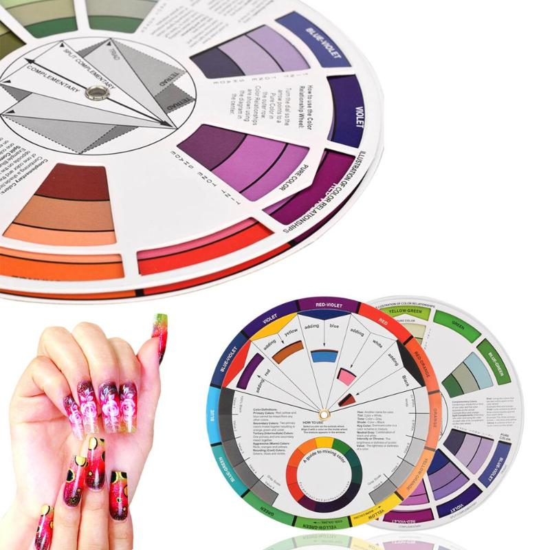 Professional Tattoo Pigment Color Wheel Paper Card 12 Color Three Layers Mix Round Nail Polish Gel Palette Wheel Paper Card