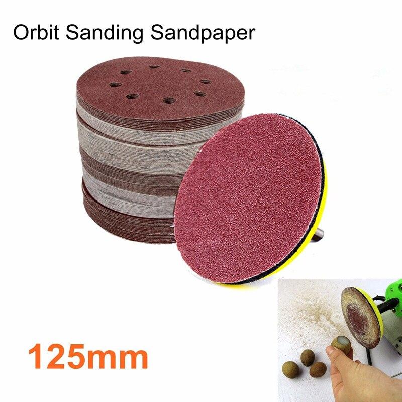 10Pcs 125mm Round Shape Sanding Discs Buffing Sheet Sandpaper 8 Hole Sander Polishing Pad 80/180/240/320/1000/1500/2000 Grit