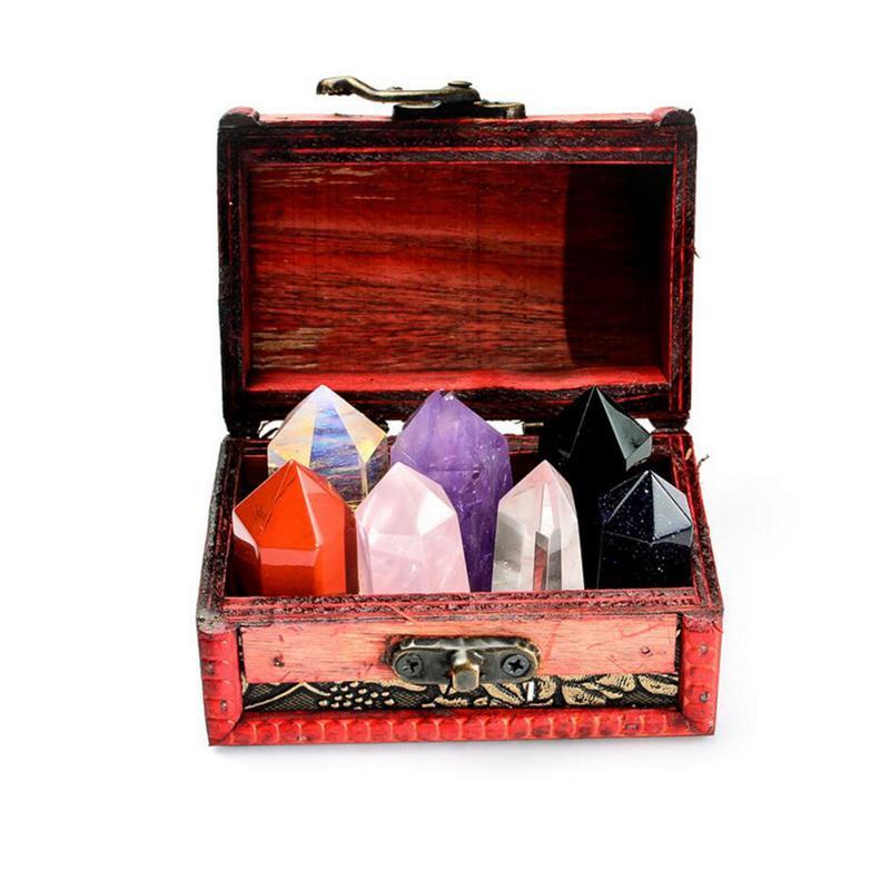 5 PCS Colorful Natural Crystal Raw Stone Set Quartz Crystal Hexagonal Prism Stone For Home Decor Creative Table Decoration
