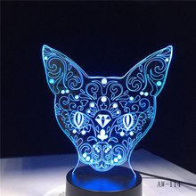 Cat 3D Night Light Animal Changeable Mood Lamp 7 Colors USB 3D Illusion Table Lamp For