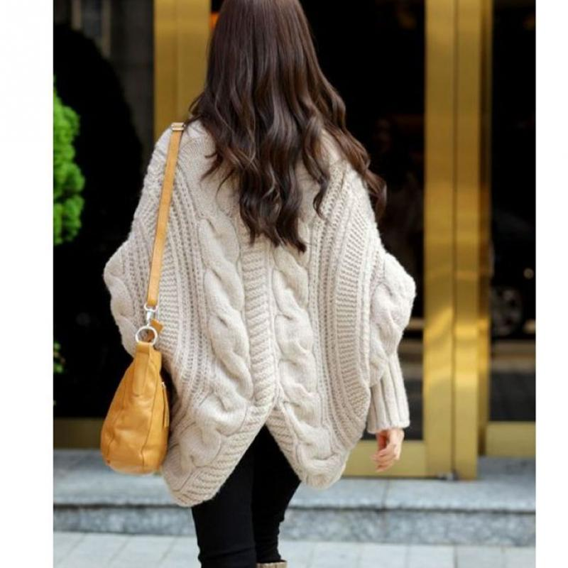 62f02750cb Winter Autumn Casual Fashion Women Winter Sweater Bat Sleeve Cardigan  Knitting Needle loose Lady Outwear  1102-in Cardigans from Women s Clothing  on ...