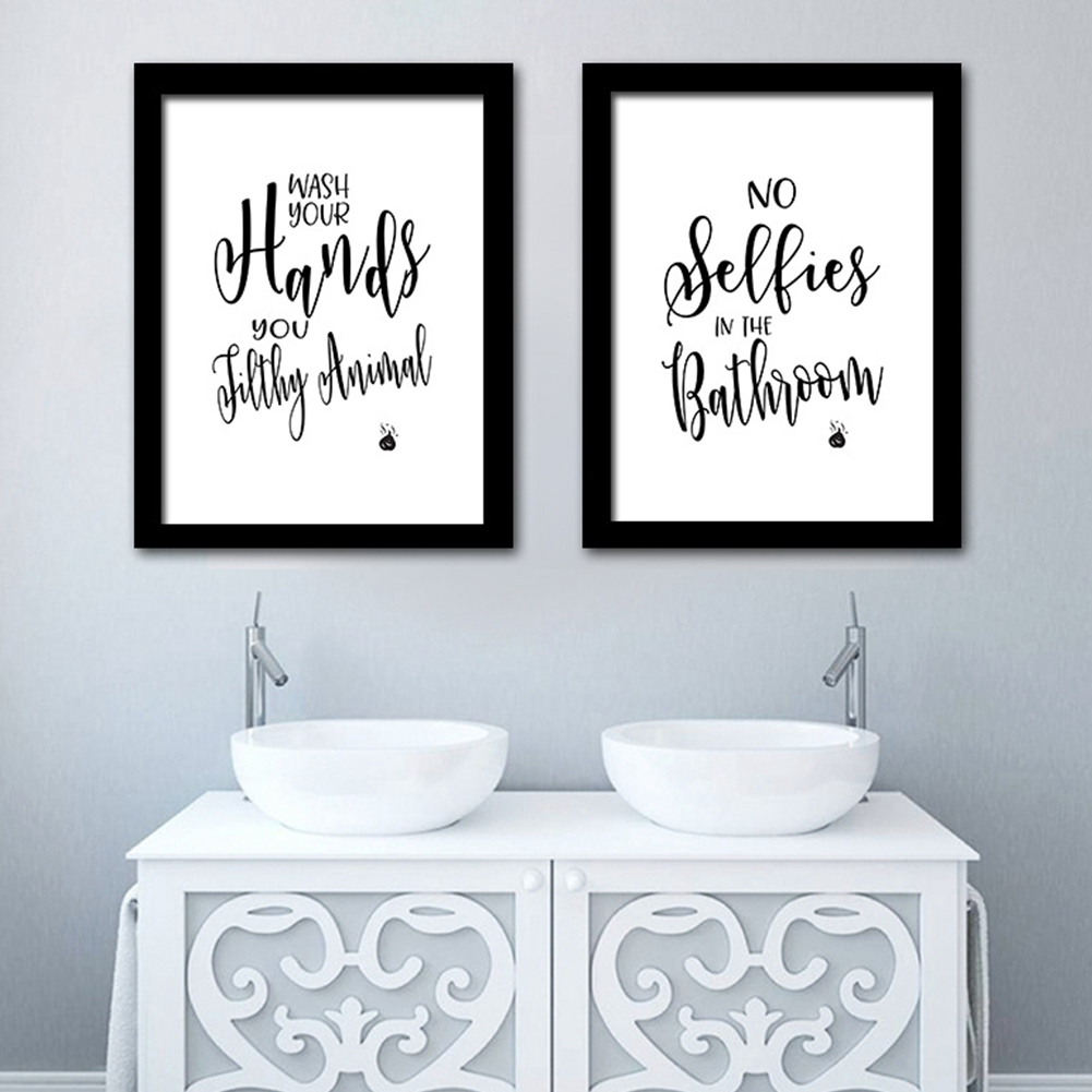 Great Gift for Bathroom Decor 8x10 Bathroom Quotes and Sayings Art Prints Set of Four Photos Unframed