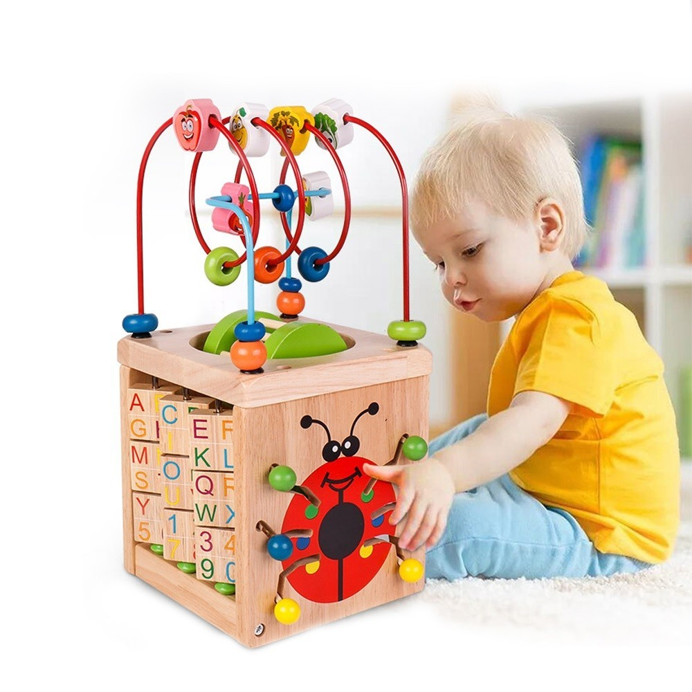 6 In 1 Wooden Bead Maze Activity Cube Natural Activity Toy Early Learning Educational Toys Children Math Around Letters Clock