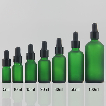 5ml mini glass dropper bottle empty frosted green essential oil cosmetic container portable refillable bottles