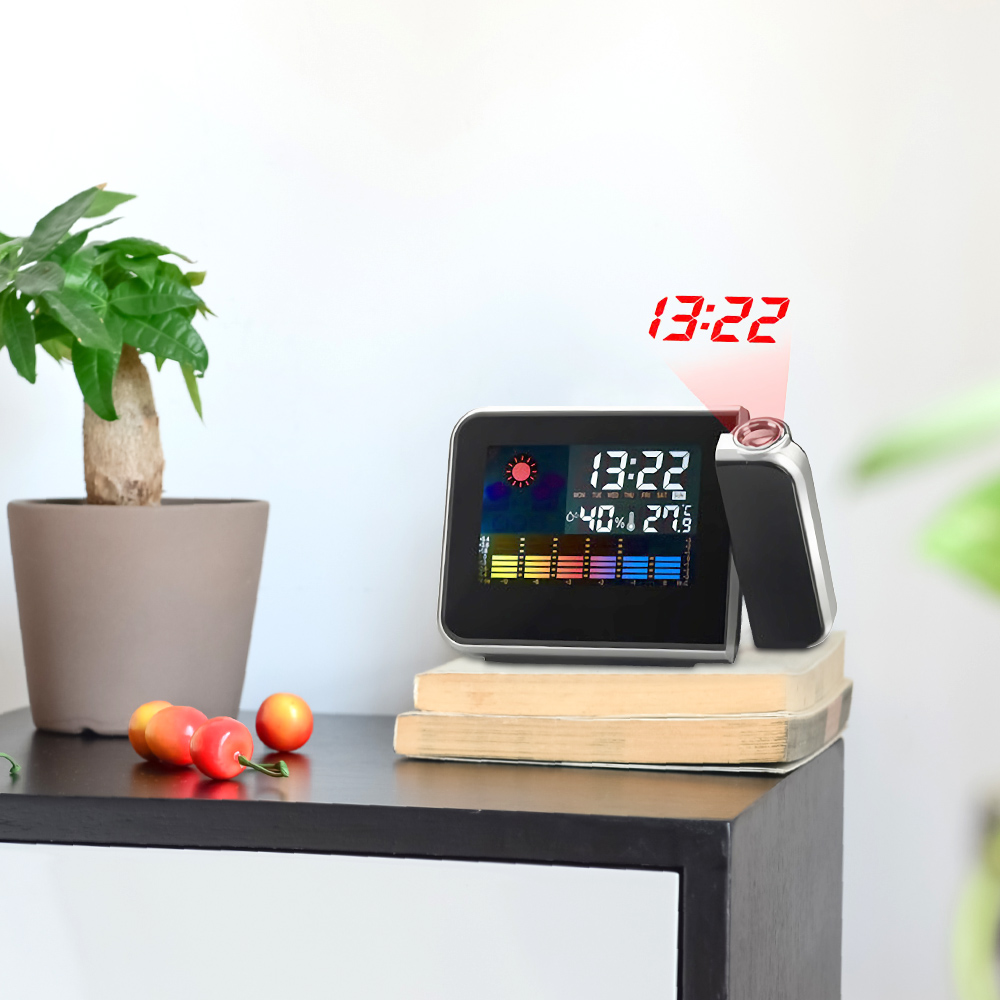 Color Alarm Clock LED 12/24 Hours Pojection Temperature, Humidity Calendar Snooze Table Clock For Home Decor