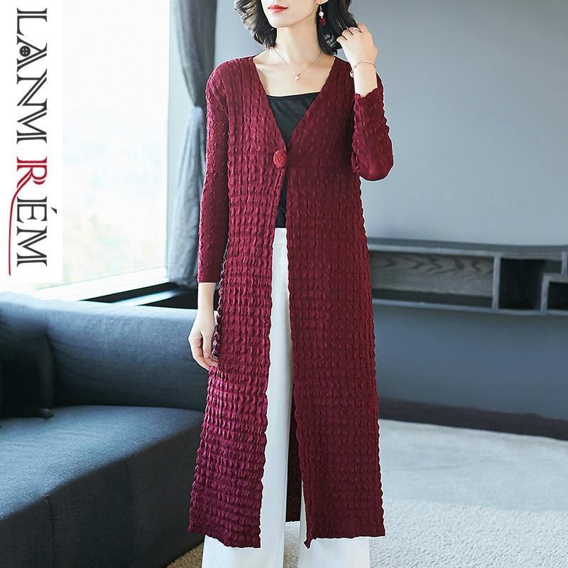 LANMREM 2019 Spring Summer Clothes For Women Elegant Pleated Trench Coat V Collar Single Button Long Sleeve Long Coat Hot NA916