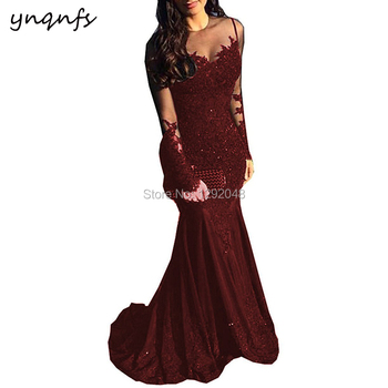 YNQNFS 2018 Hot Sale Lace Mother of the Bride Dresses Elegant Long Sleeves Burgundy Vestido Formal Dresses Party Gown MD340