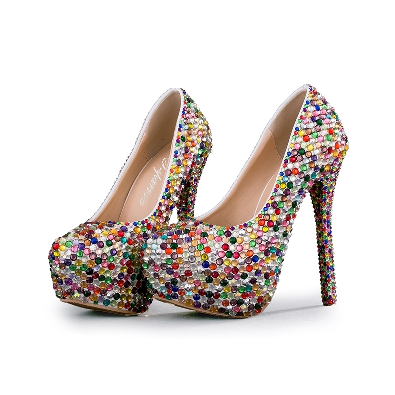 Small Rhinestone Mix Color High Heel Party Shoes Wedding Ceremony Bridal Shoes Adult Ceremony Shoes Cinderella Prom Pumps