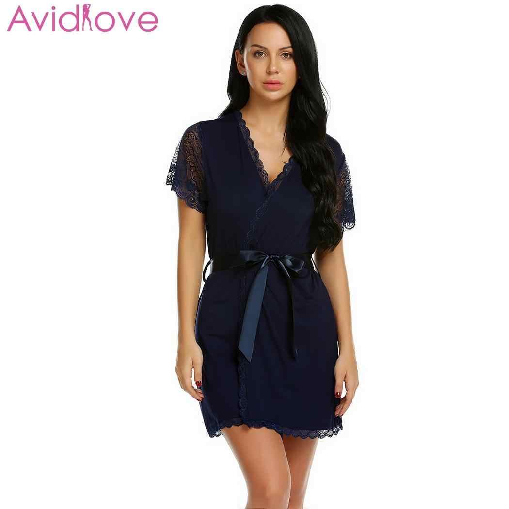b83e41cdbd0a Avidlove для женщин Сексуальная ночь халат кружево хлопок ночная рубашка  Большой ...