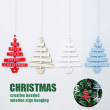 Fashion Wooden Hanging Ornament Tree-shaped Plaque Christmas 1PC New Xmas Tree Pendant Decor Home Party Decoration DIY(China)