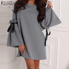 Summer Dress ZANZEA Elegant Women Long Ruffles Sleeve Mini Dresses Sexy Ladies Short Vestidos Fashion Chic Vestido Plus Size 5XL