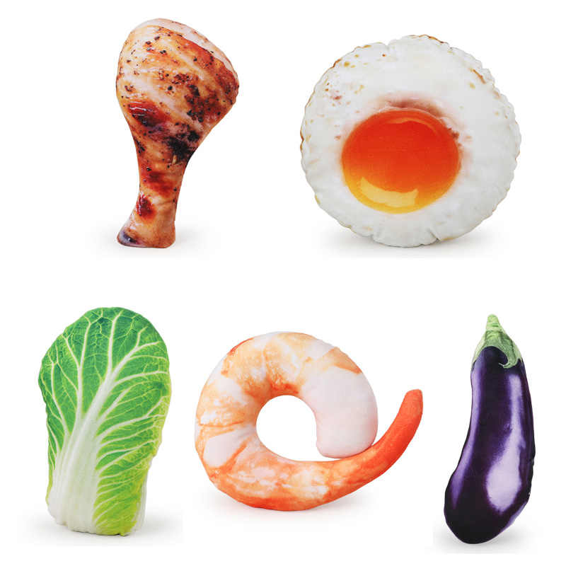 New Pet Simulation Food Sound Toy Dog Play Chew Bite Plush Toys Chicken Leg Eggplant Shrimp Vegetable Egg Pets Supplies 1Pc