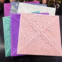 10 PCS/Pack Hollow Greeting Cards Vertical Laser Cut Butterfly Invitations Cards Kits For Wedding Bridal Shower Birthday