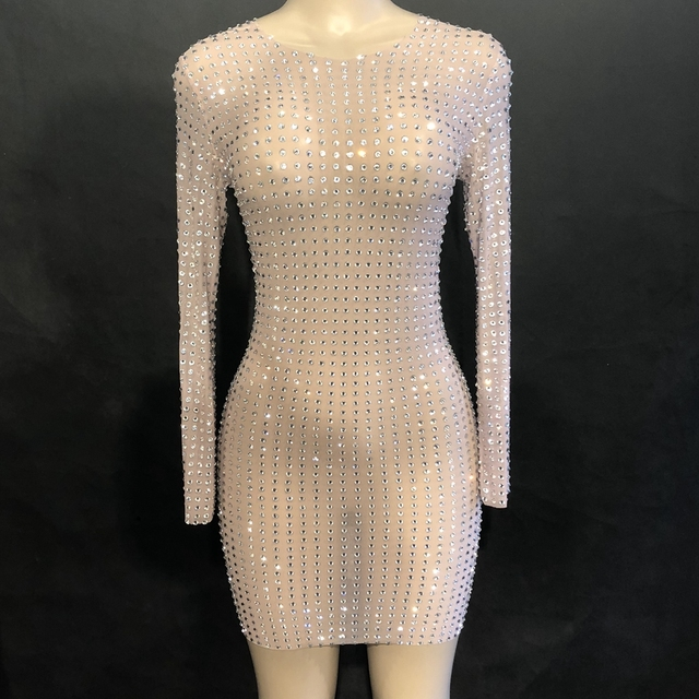 Sparkly Silver Rhinestone Mesh Perspective Dress Evening Party Luxurious Long Sleeve short Mini Dress Birthday Celebrate Dresses