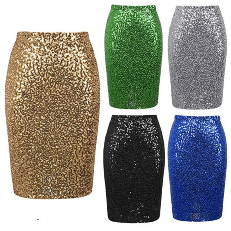 Stylish Women's Sequins Skirt Sexy Female Sparkle High Waist Stretchy Skirts Bodycon Glitter Long/Mini Party Club Pencil Skirts