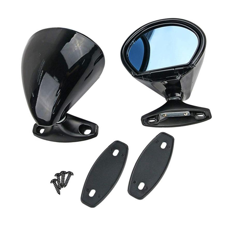 2 pièces Universel Classique Porte Aile Vue De Côté De Voiture Miroirs ABS Avion Miroir Bleu Anti-éblouissement Vintage Noir
