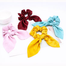 Korean Sweet Rabbit Ear Bow Streamers Hair Ties For Girls Women Satin Ribbon Scrunchies Hair Rings Accessories Horsetail Holder(China)