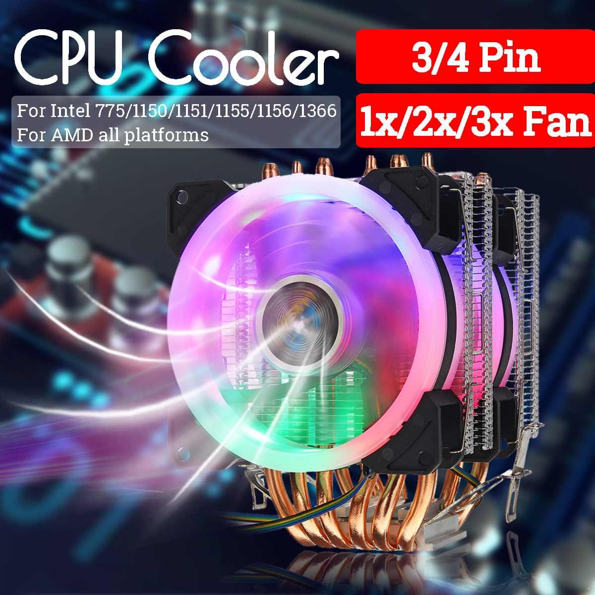 CPU Cooler Fan Heatsink 6 Copper Heatpipe 3/4 Pin RGB Fan Cooler For Intel 775/1150/1151/1155/1156/1366 and AMD All PlatformsCPU Cooler Fan Heatsink 6 Copper Heatpipe 3/4 Pin RGB Fan Cooler For Intel 775/1150/1151/1155/1156/1366 and AMD All Platforms