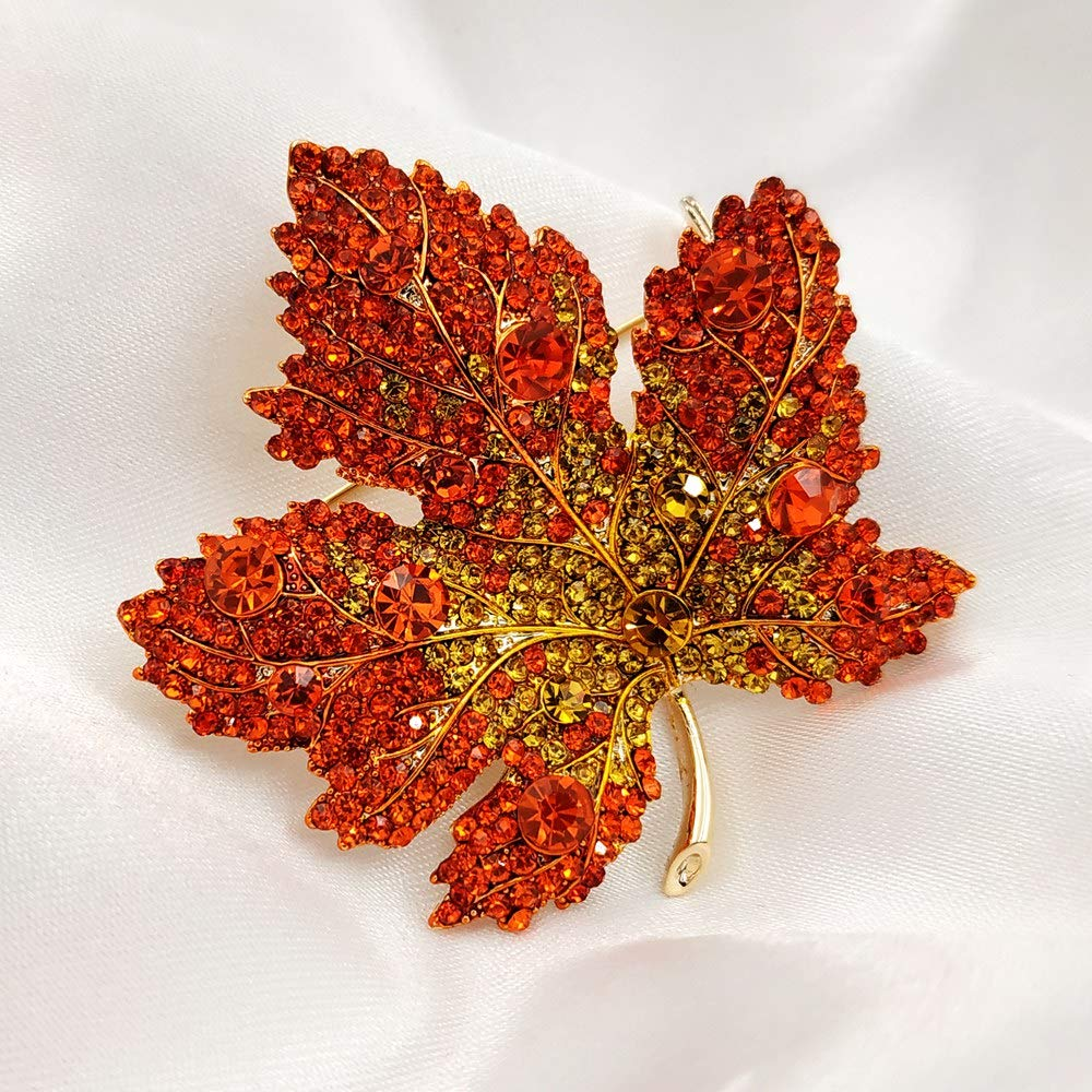Image 2 - Vintage Stylish Full Micro Pave Yellow Orange Red Crystal Big Maple Leaf Brooch Gold Tone Canadian Maple Leaf Pin Autumn Jewelry-in Brooches from Jewelry & Accessories