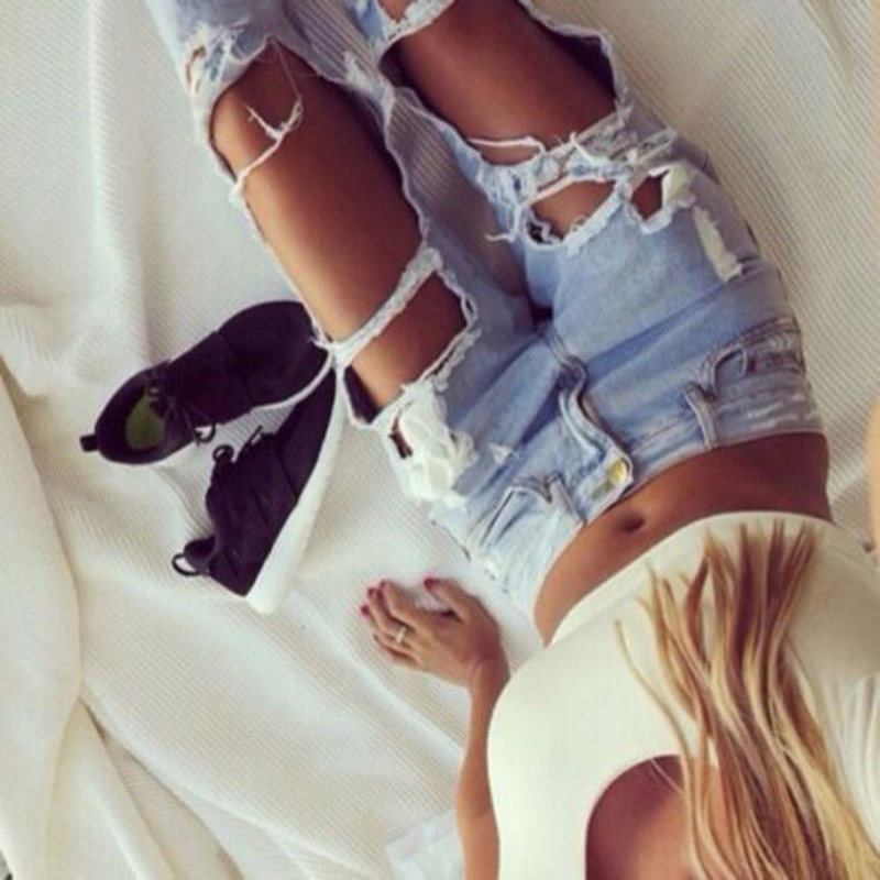 Fashion Women Destroyed Ripped Jeans Distressed Slim Pants High Waist Denim Jeans Casual New Shredded Trousers