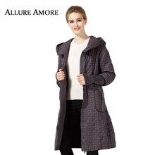 Allure Amore зимняя куртка женские пальто пункт теплая парка длинные большие размеры Куртки повседневные хлопчатобумажные клетчатые пальто женский широкий талией