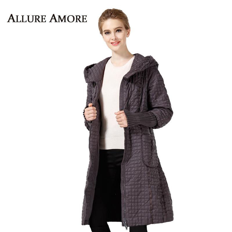 Women's   Parka   warm Winter Plaid Coat long plus size Jacket Female Casual Loose Cotton Padded Hooded Coats Woman AllureAmore