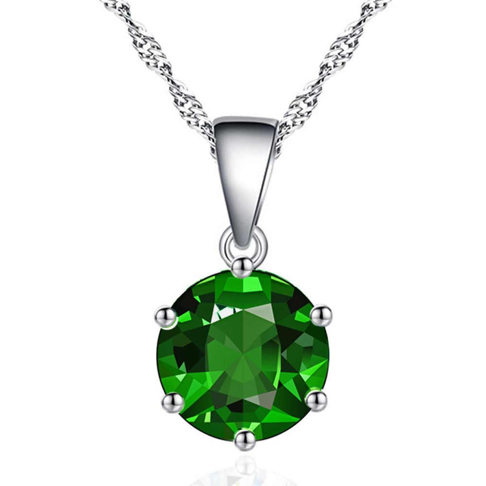 2019 פשוט רויאל כחול ירוק יוקרה ורוד סגול זירקון אבן שרשרת תליון Bff שרשרת לאישה מתנה לחתונה משלוח חינם