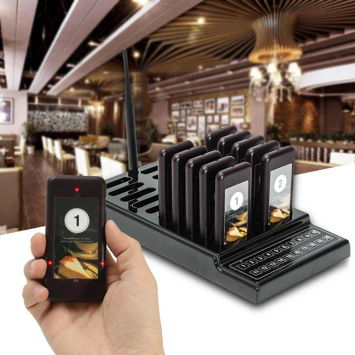 Système de mise en file d'attente sans fil 10 téléavertisseur d'appel + 1 transmetteur batterie équipement de téléavertisseur de Restaurant F9401