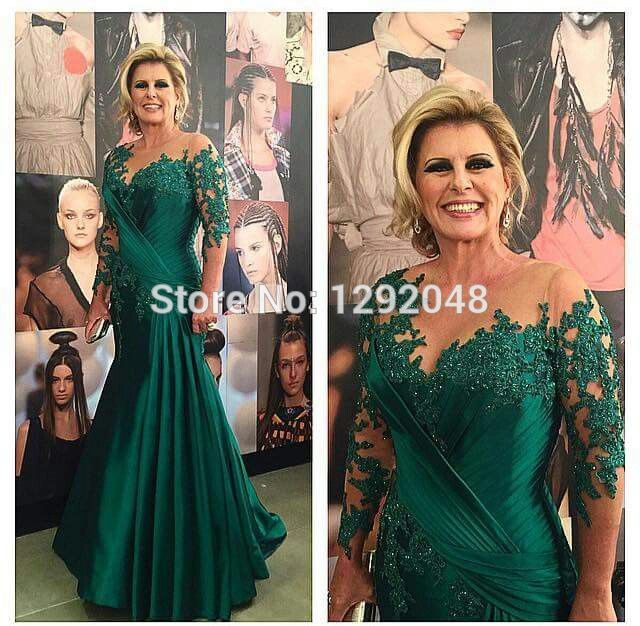 Emerald Green Modest Mother Of The Bride Dresses With Sleeves Plus Size Groom