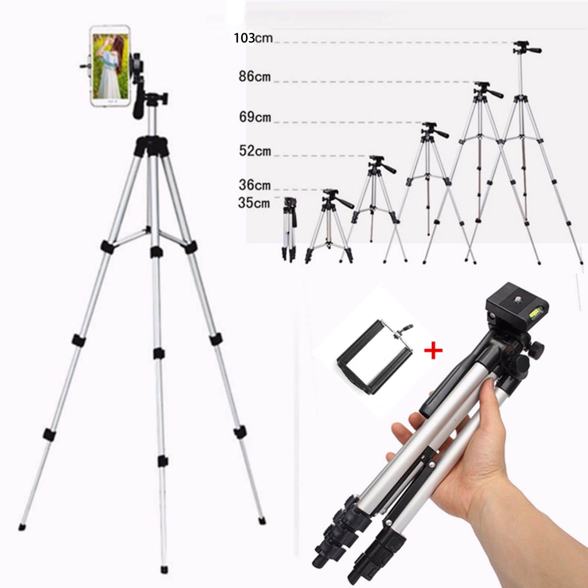 Telescopic Mobile Phone Digital Camera Camcorder Flexible Tripod Stand Mount + Holder For Canon for Nikon for iPhone 6 7 8 X XR