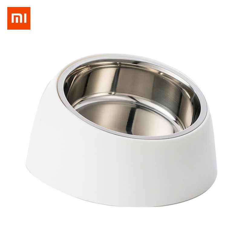 Home Appliances Xiaomi Stainless Steel Pet Dog Bowl Puppy Cats Food Drink Water Tilted Feeder With Base Pets Supplies Non-slip Feeding Dishes