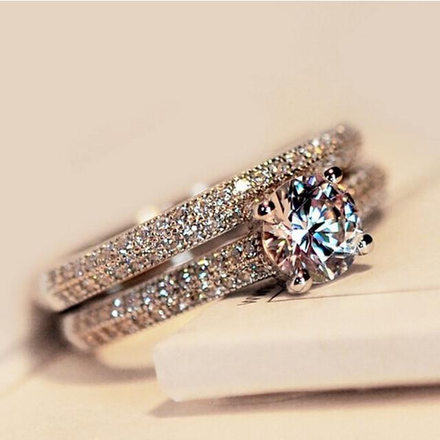 Модные 2 шт/компл серебряные кольца с кристаллами для женщин