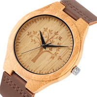 Nature Bamboo Wood Wrist Watch Men Casual Life Tree Dial Creative Watches Leather Band Timepieces 2019 New Male Clock Gifts