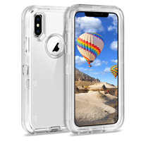 Heavy Duty Armor Plain 360 Clear Crystal Case Cover For iPhone 11 Pro Xs Max/XR/X Protector PC+TPU Clear For iPhone 6 7 8 Plus