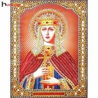 Especiais Em Forma de Diamante Pintura HUACAN 5D Cristal Rodada Diy Personalizado ícones Home Decor Diamante Mosaico Bordado Religioso 22x28CM|Ponto cruz com pintura de diamante| |  -