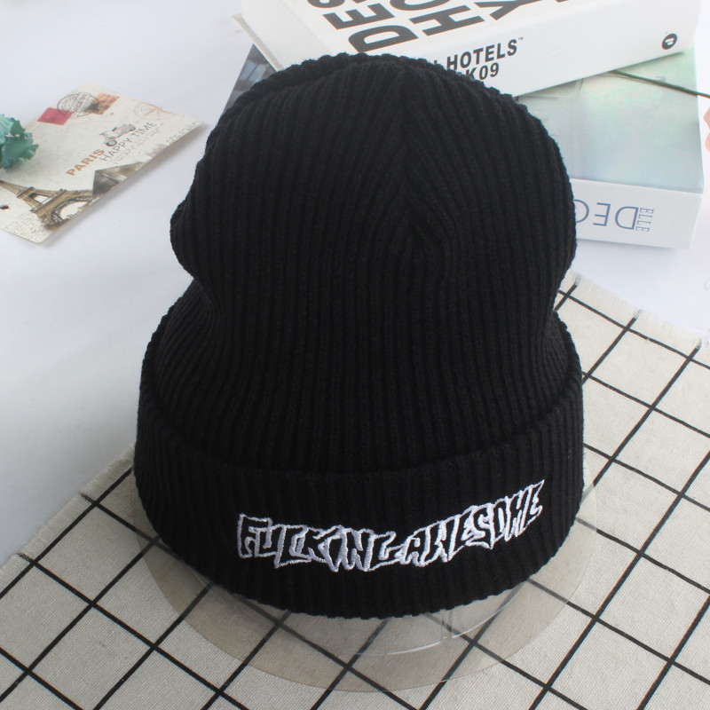 New Three-dimensional Embroidery Letter Knitting Hat Men And Women Lovers Keep Warm Wool Hat Star With Fund Pullover Hats