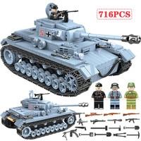 716 PCS Technik Military Tank Building Blocks Compatible Legoed Army City WW2 Soldier Police Weapon Bricks Sets Boys Toys